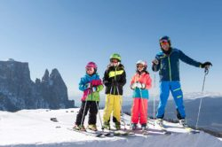 con i bambini all'Alpe di Siusi