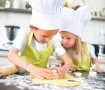 young happy childrens kids family preparing funny cookies in kitchen at home