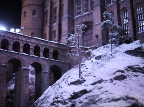 Trees-are-covered-with-snow-on-the-Hogwarts-model